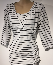 BLOOMING MARVELLOUS MATERNITY WHITE STRIPE 3/4 SLEEVE TUNIC TOP SIZE L 14